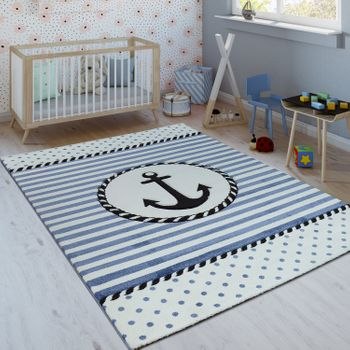 Children's Rug Nautical Design Blue White