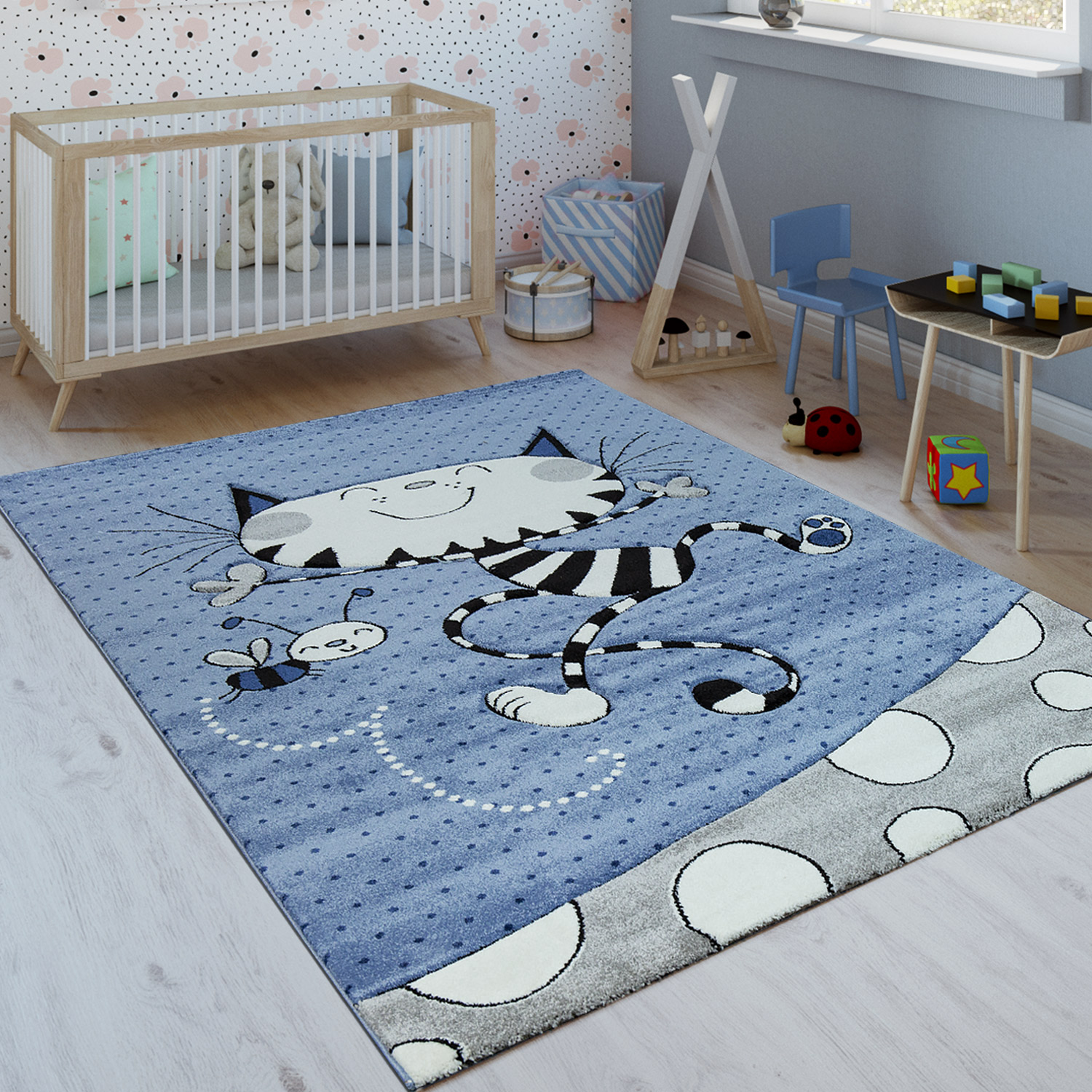 Children's Rug Playful Cat Grey Blue