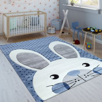 Children's Rug Cute Rabbit Indigo Blue