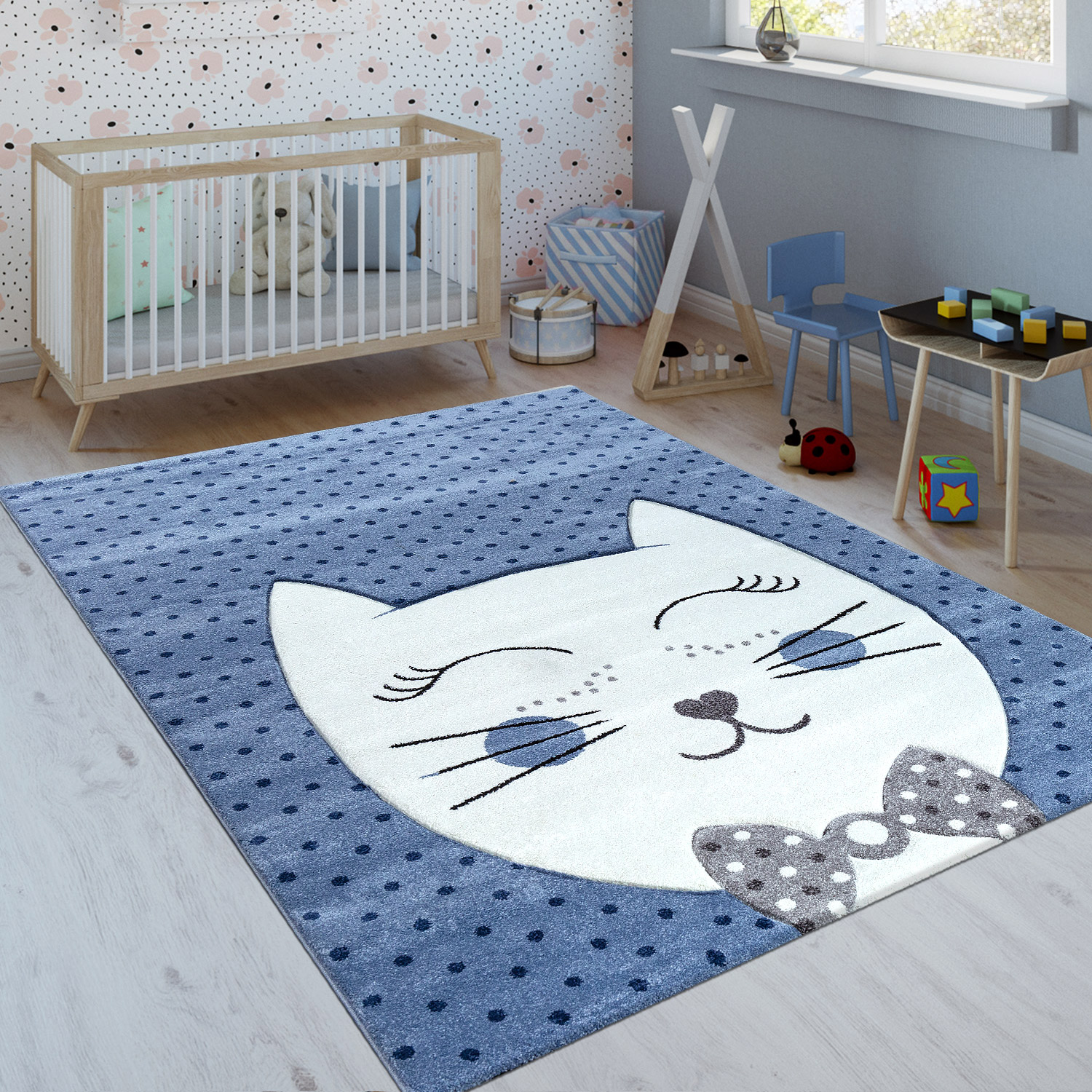 Children's Rug Cheshire Cat Indigo Blue