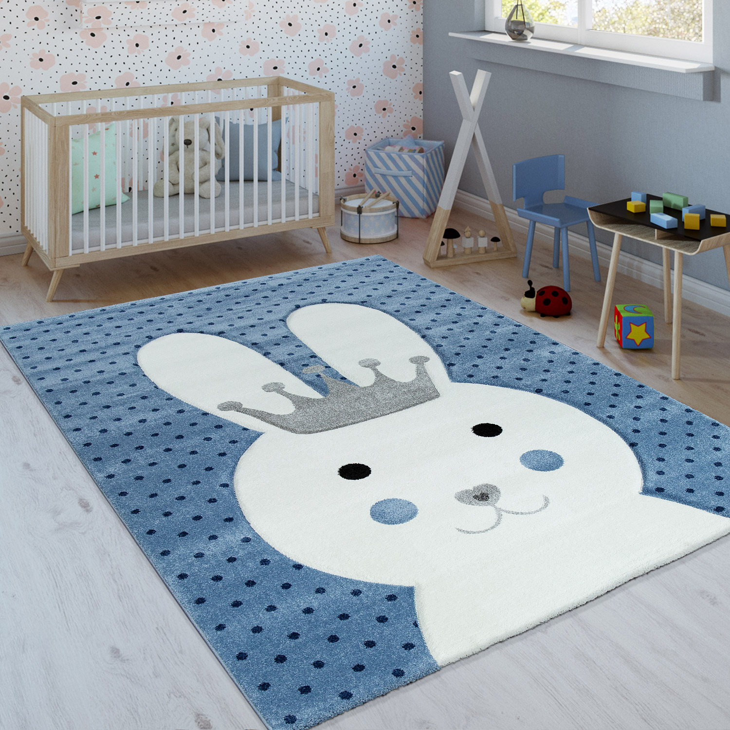 Children's Rug Rabbit With Crown Indigo Blue