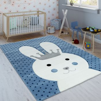 Children's Rug Rabbit With Crown Indigo Blue – Bild 1