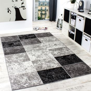 Designer Rug Chequered in Marble Visual Effect Flecked Grey Black White Sale – Bild 1