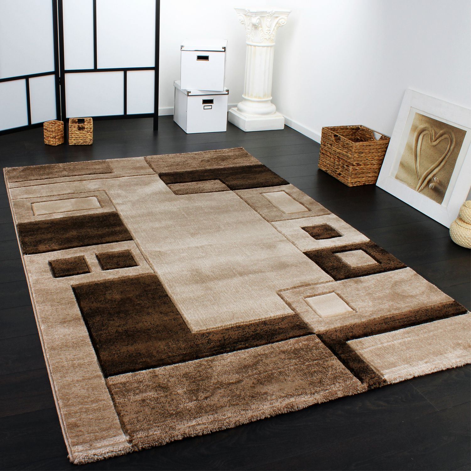 Luxury Designer Rug - Contour Cut - Geometric Checked - Mottled Brown Beige Sale