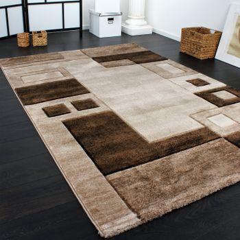 Edler Designer Teppich Konturenschnitt Kariert in Braun Beige Meliert – Bild 2