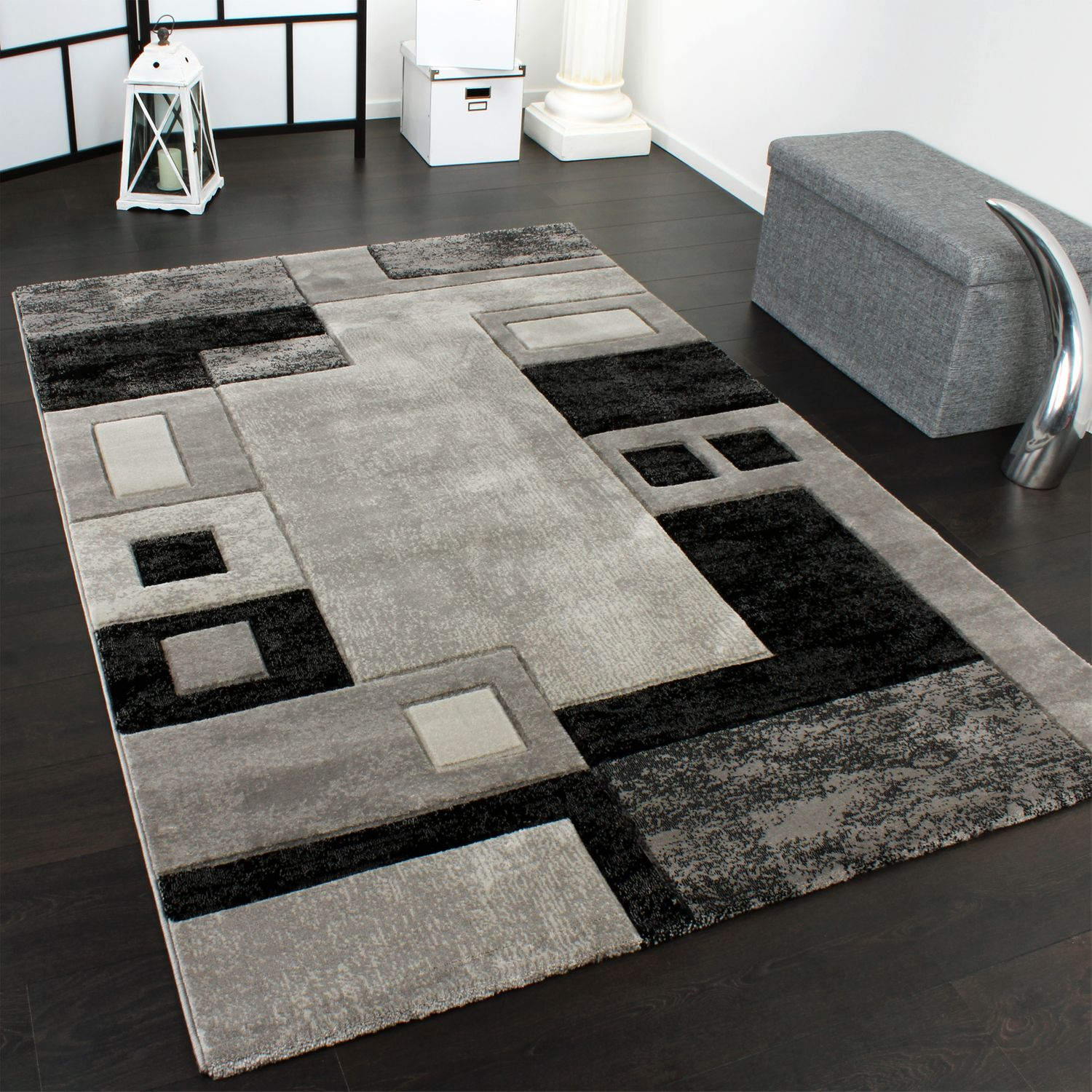Luxury Designer Rug - Contour Cut - Geometric Checked - Mottled Grey Black Sale