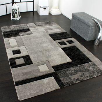Edler Designer Teppich Konturenschnitt Kariert in Grau Schwarz Meliert – Bild 1