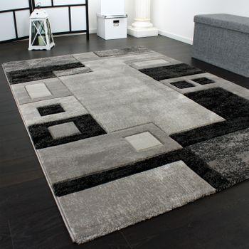 Edler Designer Teppich Konturenschnitt Kariert in Grau Schwarz Meliert – Bild 3