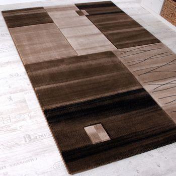 Edler Designer Teppich Geometrisch mit Konturenschnitt in Braun Beige Creme Meliert – Bild 2