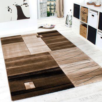 Edler Designer Teppich Geometrisch mit Konturenschnitt in Braun Beige Creme Meliert – Bild 1