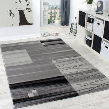 Edler Designer Teppich Kariert mit Konturenschnitt in Grau Schwarz Creme Meliert – Bild 1