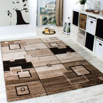 Elegant Designer Rug Checked Short Pile in Brown Beige Cream Mottled Sale – Bild 1