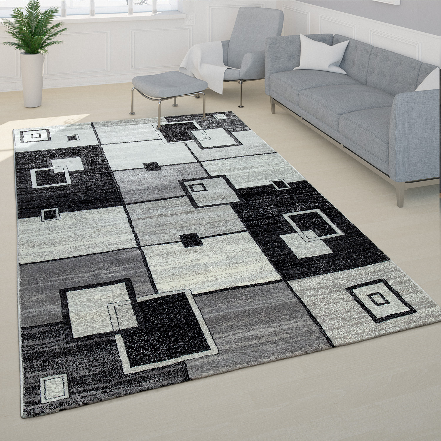 Elegant Designer Rug Checked Short Pile in Grey Cream Black Mottled Sale