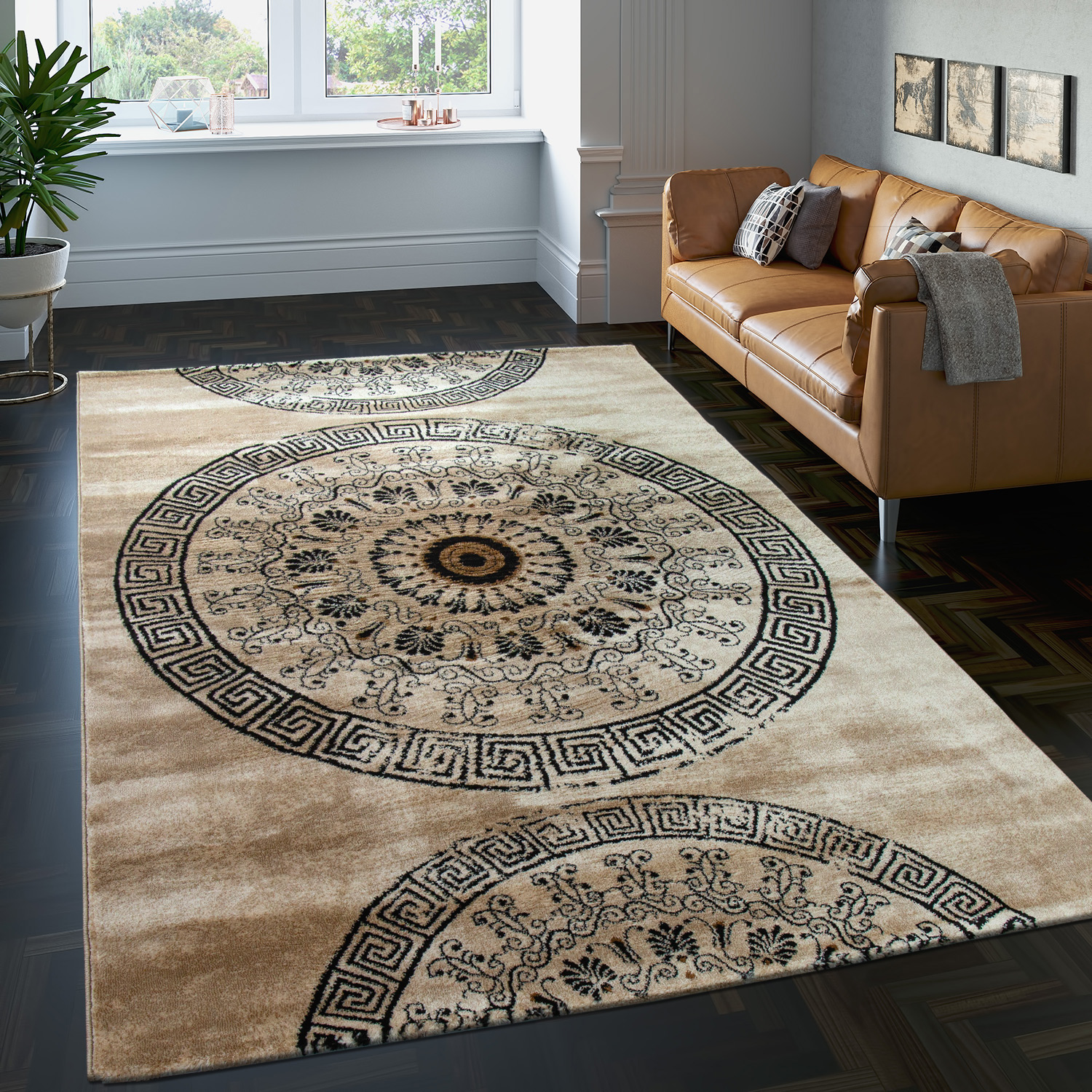 Carpet With Classic Pattern Circle Ornaments In A Mixture Of Brown Beige Sale