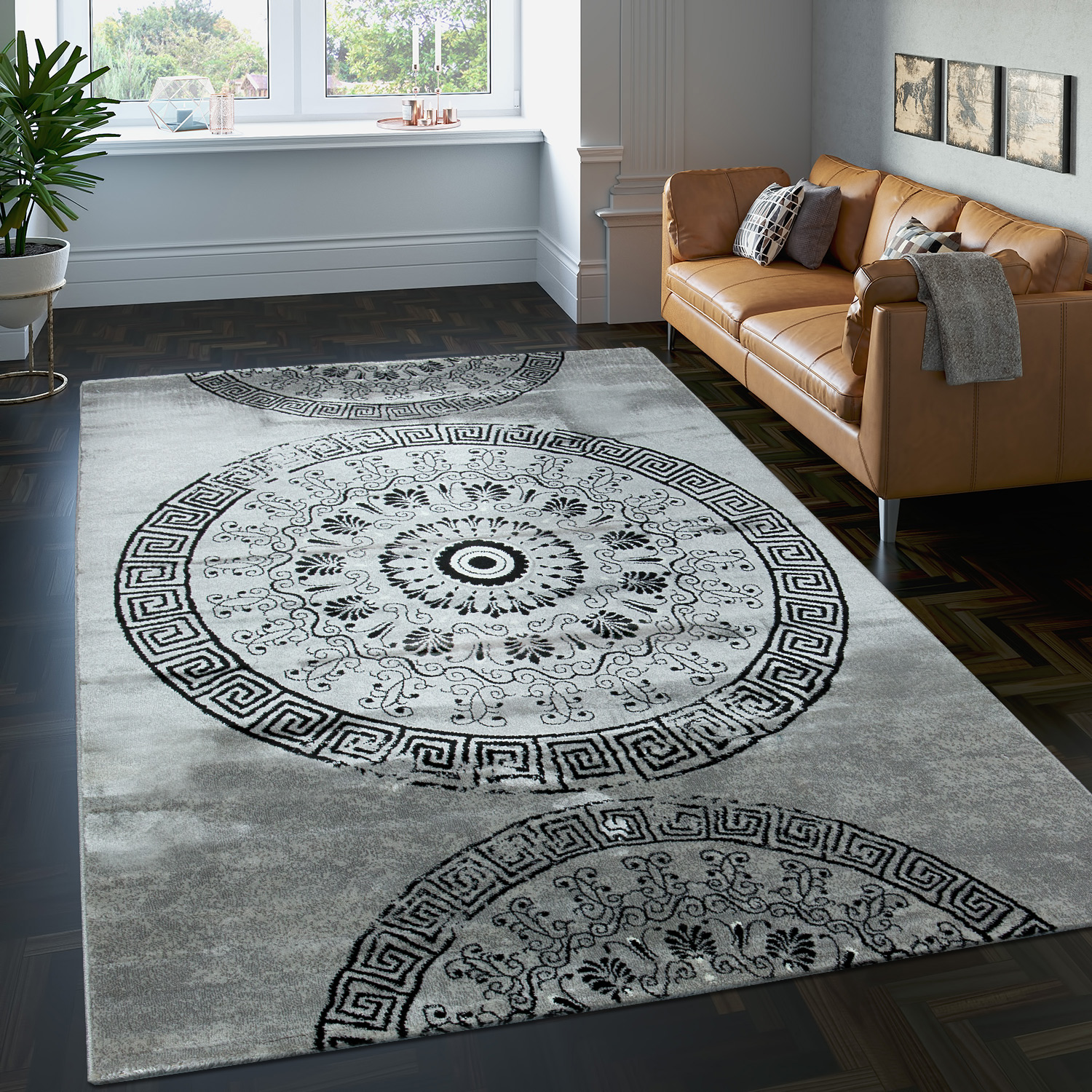 Carpet With Classic Pattern Circle Ornaments In A Mixture Of Grey And Black Sale