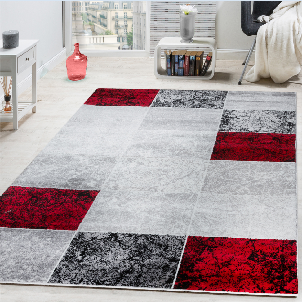 Designer Rug Chequered in Marble Visual Effect Flecked Grey Red Sale