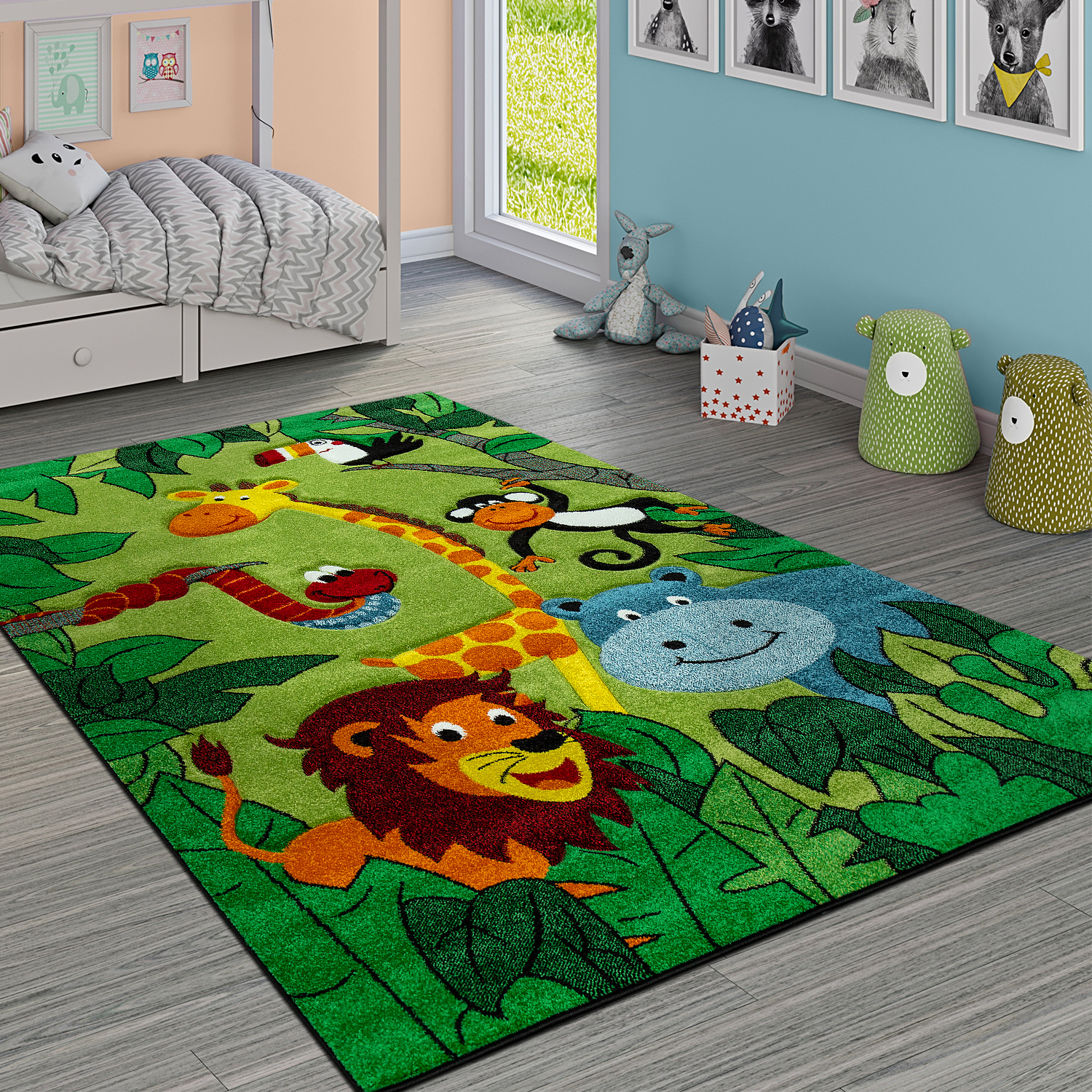 Children's Rug Jungle Animals Green