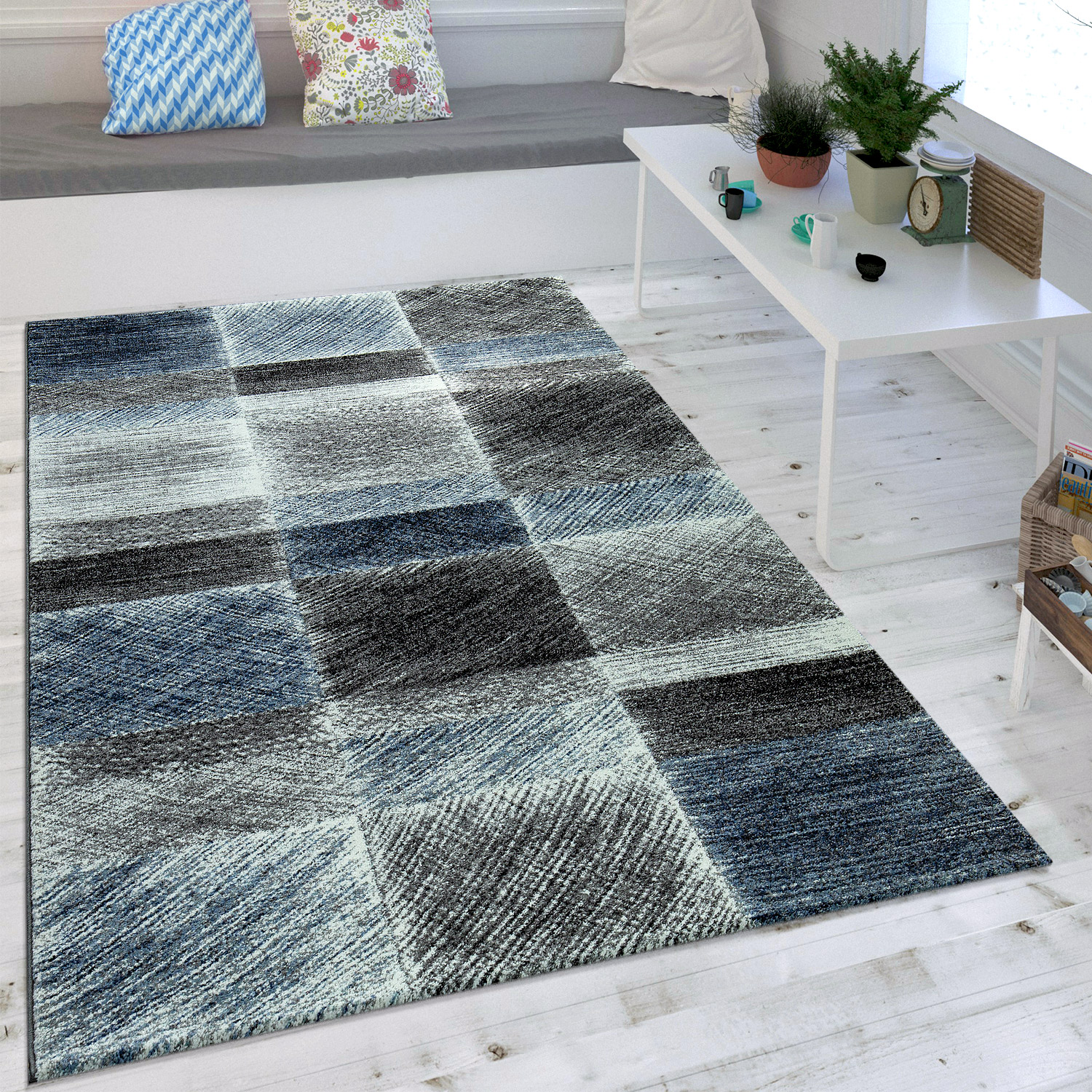 Modern Checks Rug Vintage Blue