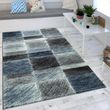 Modern Checks Rug Vintage Blue 001