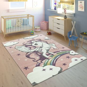 Children's Rug Rainbow Unicorn Pastel Pink – Bild 1