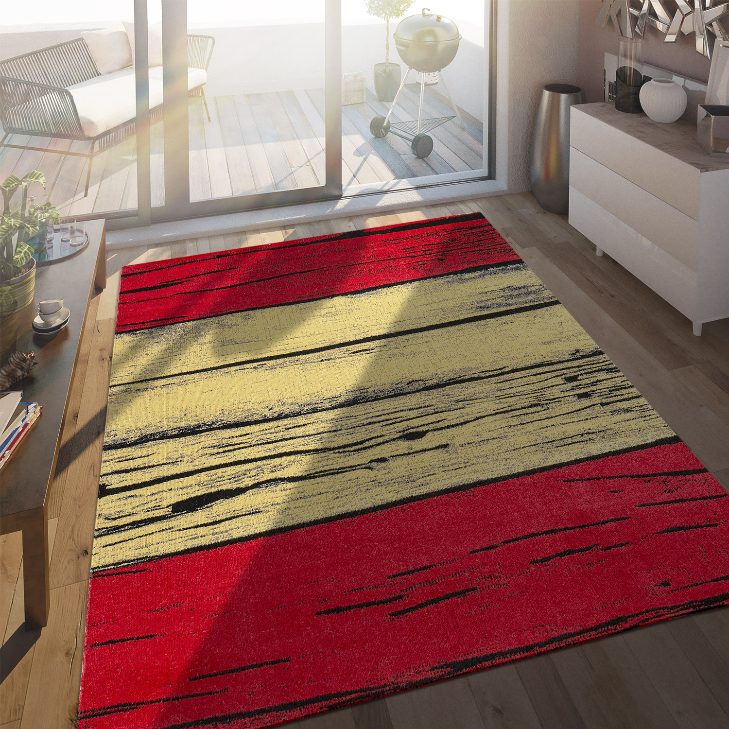 In- & Outdoor Terrassen Teppich Spanische Flagge Moderne Beton Optik