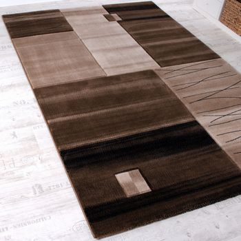 Designer Rug Bedroom Runners Contour Cut Geometric Checked Brown SALE – Bild 3