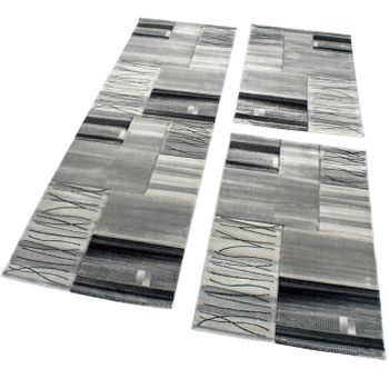 Designer Rug Bedroom Runners Contour Cut Geometric Grey Black Cream SALE – Bild 1