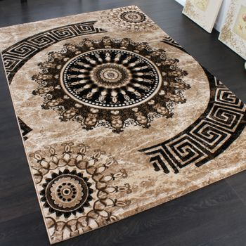 Bedroom Runners With Classic Pattern Circle Ornaments In Brown Beige SALE – Bild 3