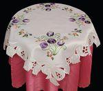 Tulpen Mitteldecke Tischdecke 85 x 85 cm weiß mit violett lila Blumen Stickerei 001