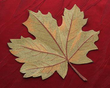 Grün Herbstlaub Stickerei - Serie in Leinen-Optik – Bild 2