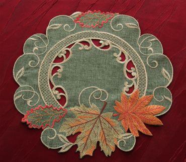 Grün Herbstlaub Stickerei - Serie in Leinen-Optik – Bild 3