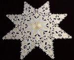 85 cm Winter-Stern Mitteldecke Tischdecke Weiß Gold Stickerei Weihnachten Advent 001