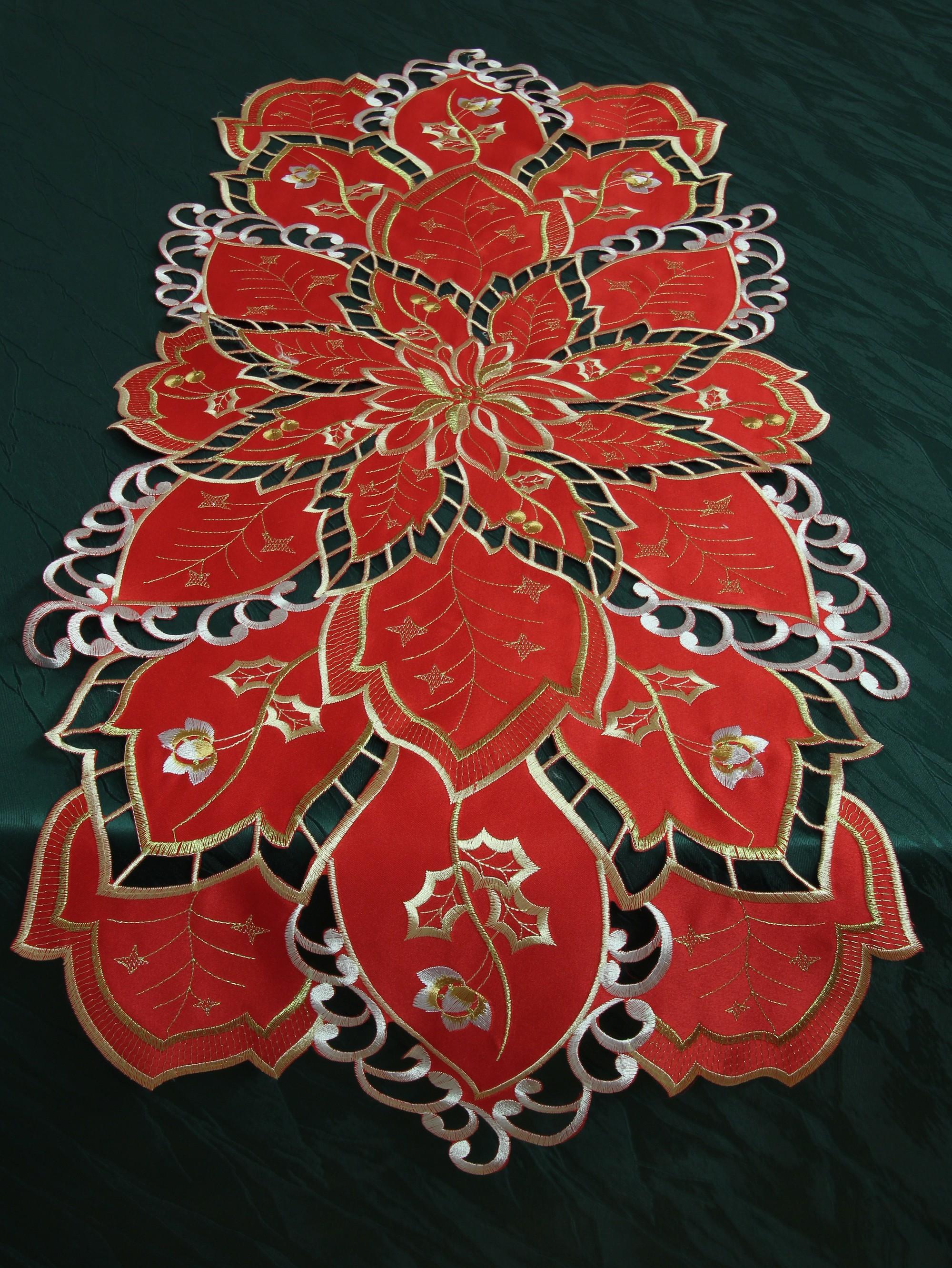 winter tischl ufer tischdecke rot mit durchbruch stickerei advent weihnachten. Black Bedroom Furniture Sets. Home Design Ideas