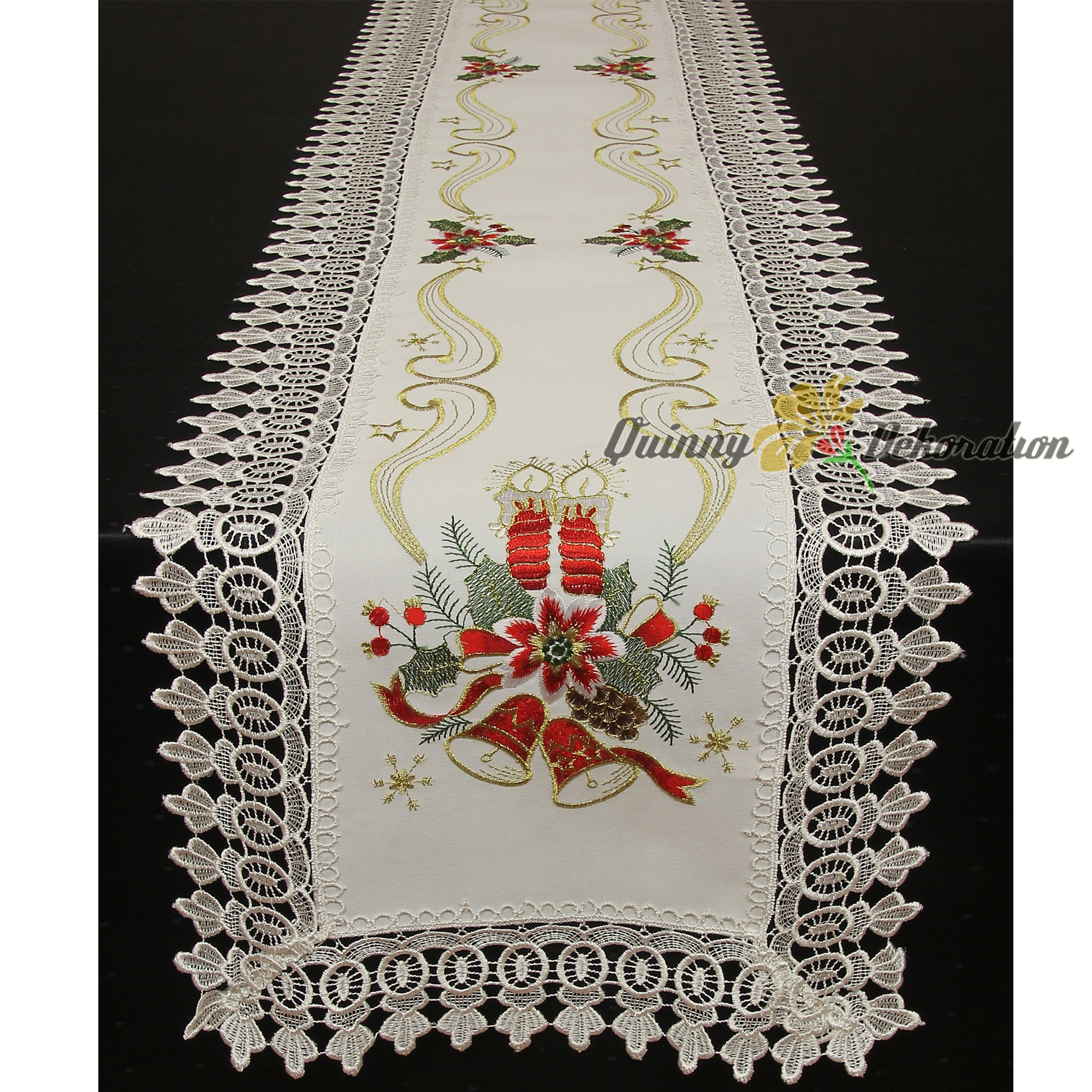 noble lace tablecloth table runner doily white red gold. Black Bedroom Furniture Sets. Home Design Ideas