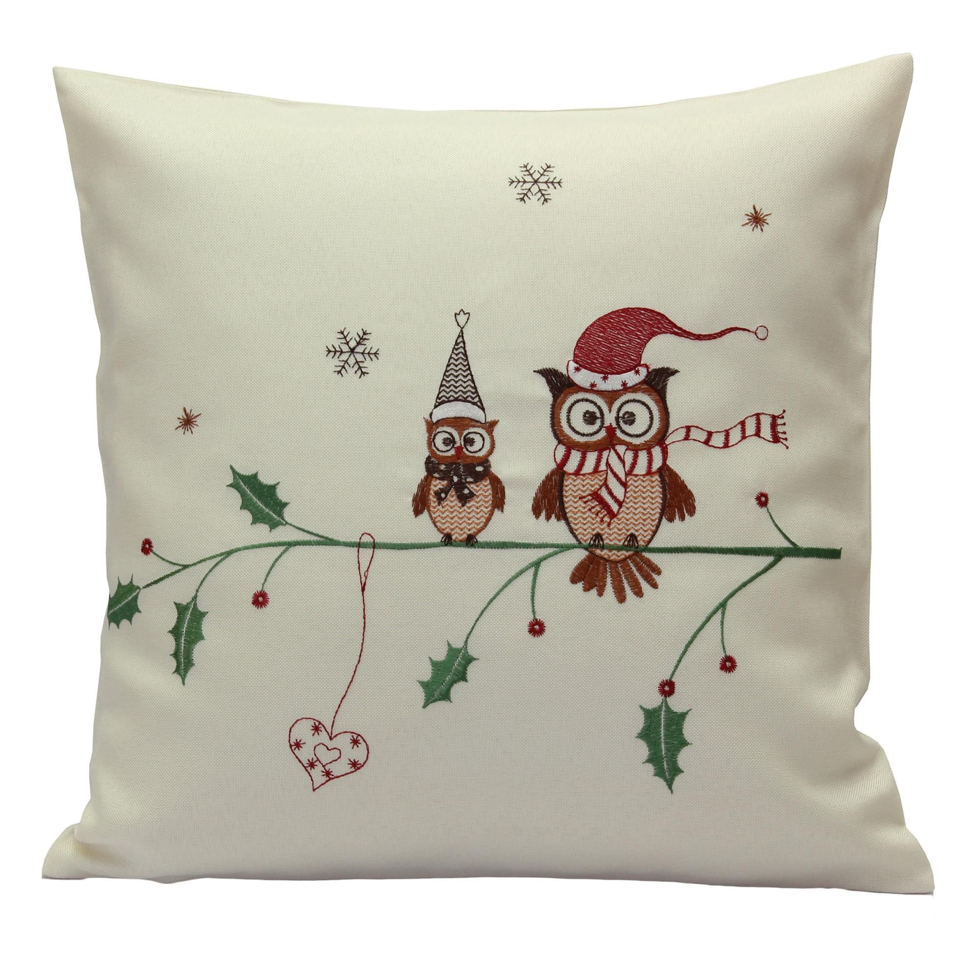eule weihnachten tischl ufer mitteldecke kissenh lle leinen optik creme wei rot ebay. Black Bedroom Furniture Sets. Home Design Ideas