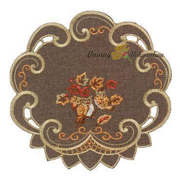 Braune Eulen im Herbstlaub Stickerei - Serie – Bild 2