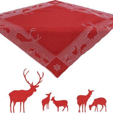 Roter Hirsch Stickerei - Mitteldecke Rot