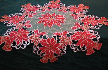 Weihnachten Stern Mitteldecke 85 x 85 cm Rot Organza Tischdecke Winter Advent Or