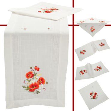 Roter Klatschmohn Stickerei - Frühlingsserie Weiß – Bild 1