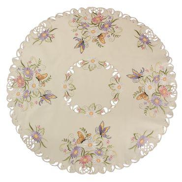 Schmetterling Tischläufer Mitteldecke Tischdecke Set Ecru bunte Blumen Stickerei – Bild 5