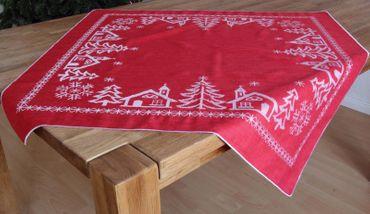 Schöne Mitteldecke 85 x 85 cm Rot Winter Tischdecke Weihnachten Advent Tischdeko