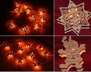 Weichnachts-Baumschmuck aus Holz mit Beleuchtung Anhänger Christbaumschmuck NEU