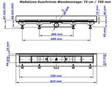 Duschrinne Bodenablauf Edelstahl Ablaufrinne Badablauf flach 75cm , Modell: Harmony-Wandmontage Bild 6