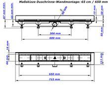 Duschrinne Bodenablauf Edelstahl Ablaufrinne Badablauf flach 65cm , Modell: Square-Wandmontage Bild 5