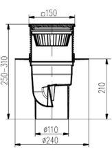 Hofablauf mit Gußeisenrost Belastung bis 1500 kg DN 110 150x150 mm 327 S Li  Bild 2