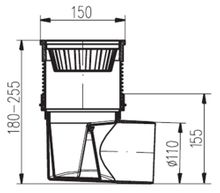 Hofablauf  Kellerablauf  Gusseisenrost 150x150 mm  DN 110  324 S Li  Bild 2