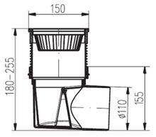 Hofablauf   Kellerablauf  150 x 150 mm   DN110 324 S Bild 3