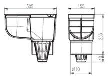 Regenrohrablauf Dachrinnenablauf  Regensinkkasten DN 110  grau 325 A s  Bild 2