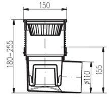 Hofablauf  Kellerablauf  Edelstahlrost  150 x 150 mm   DN110  324 V N  Bild 2