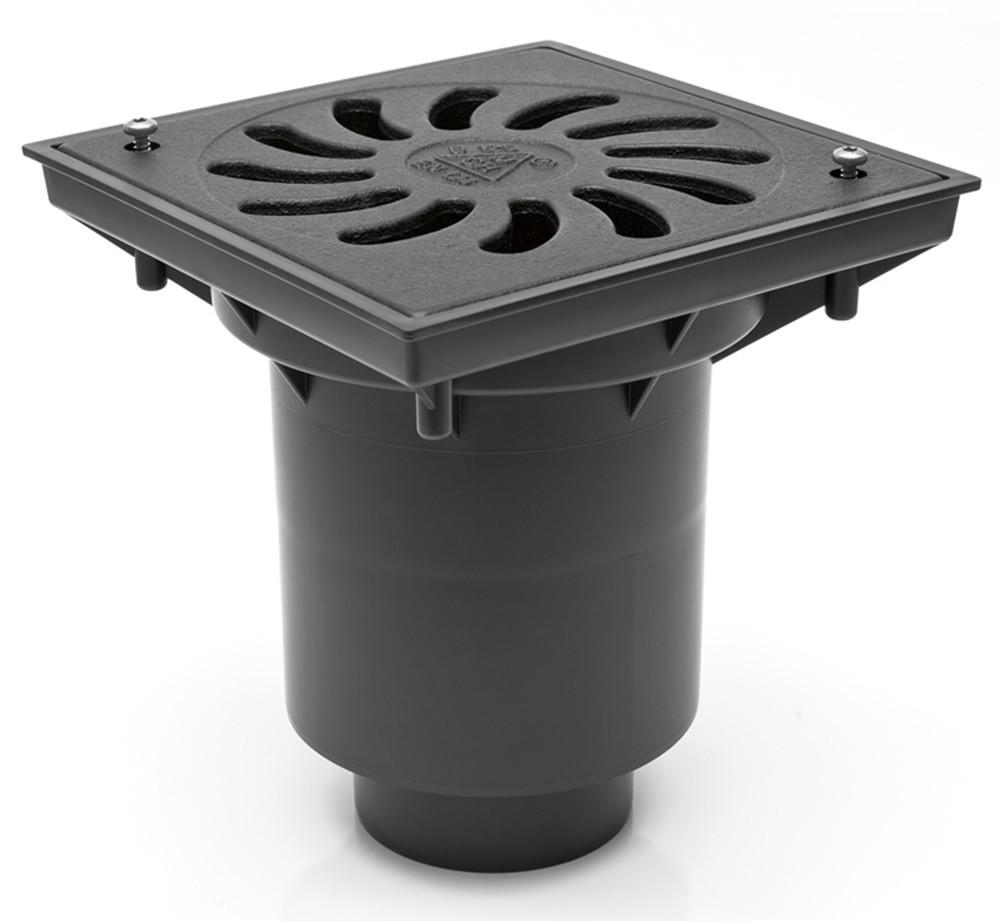 Hofablauf Kellerablauf mit Kunststoffrost Belastung bis 1500kg 245x245mm 328Pz